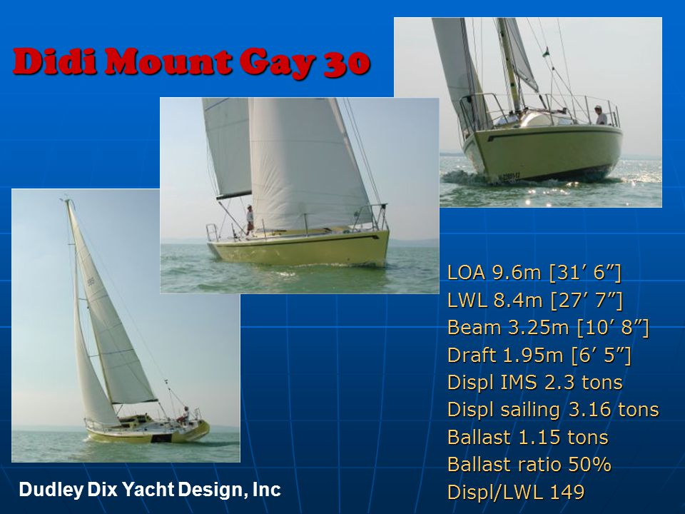 Didi Mount Gay 30 LOA 9.6m [31' 6 ] LWL 8.4m [27' 7 ]